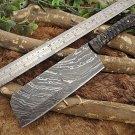 Custom Made Damascus Steel Hunting full tang Cleaver Knife Jigged horn scale