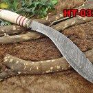 "15"" Damascus steel Kukri knife,10"" blade, Bone & engraved brass scale, sheath"