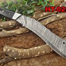 "15"" long Damascus steel Eagle Kukri Knife, 10"" full tang blade, Leather sheath"