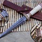 "12.5"" Dagger hand forged Damascus Knife 6.2"" dual edge blade camel bone & brass"