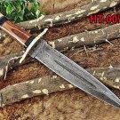 "14"" Dagger Knife hand forged Damascus steel, wood, bone & horn scale, Cow sheath"