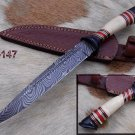 "13"" Long hand forged Damascus hunting knife camel bone & bull horn handle sheath"