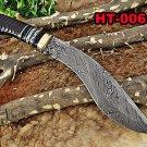 "14"" Long hand forged Damascus steel hunting Kukri Knife, Engraved Bull Horn"