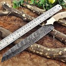 """13"""" Damascus Steel kitchen chef Knife, bread knife, 7.5"""" long Hand Forged blade"""