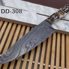 Stag Antler scale 10 Inches long Chef Knife custom made hand forged Damascus