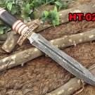 "14.5"" Long Damascus steel Dagger knife 8"" dual edge, Bone, Horn & brass scale"