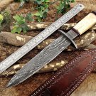 "13"" Damascus steel Dagger knife, finger guard, Bone scale,"