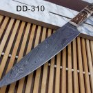 """Stag scale12.5"""" long Damascus steel full tang blade Chef Knife W/ Leather sheath"""