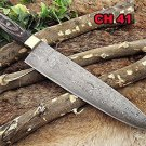 "14"" long Damascus steel chef Knife, 9"" full tang blade, 2 tone Dollar wood scale"