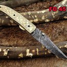 Hand engraved brass scale Damascus steel Folding Knife W/liner lock, thumb knob