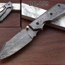 "8"" long  Damascus steel scale & blade Folding Knife W/pocket clip, Cow sheath"