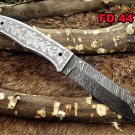 "8"" long Hand engraved steel scale folding Knife, custom made 3.5"" Hand Forged"