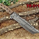 "Tracker Knife 14"" Full Tang Damascus Steel Tanto balde, Rose Wood, Cow sheath"