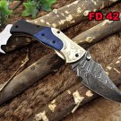 "8"" long Damascus steel Folding Knife, Engraved brass Bull horn & Blue bone scale"