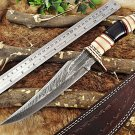 "Damascus steel Hunting Knife, 13.5"" Long hand forged, Camel bone Bull horn Brass"