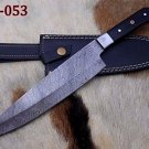 "13"" Damascus steel chef knife, Bull horn scale W/Bolster, Cow Leather sheath"