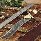 "15"" Long Damascus steel hunting Knife, Bone wood engraved brass scale,Cow sheath"