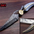 Damascus folding knife in exotic leaf shape engraved Damascus, Leather sheath