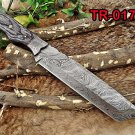 "14"" Tracker Knife Full Tang Damascus Steel Tanto balde, 2 tone Wood, Cow sheath"