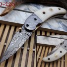 "7""long Damascus steel Folding Knife with camel bone scale custom made 3"""