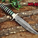 "12"" Long hand forged Damascus steel Hunting Knife, Sliced dollar wood"