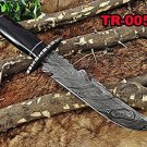"13"" Long hand forged Damascus steel hunting Bowie Tracker gut hook knife, Sheath"