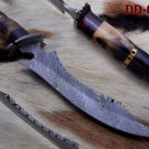 "13"" long custom made Hand Forged Damascus Steel dagger Knife horn bone brass"