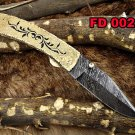 "Damascus steel 7"" long Folding Knife, Solid hand engraved brass scale"