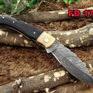 "Damascus steel 8 "" long Folding Knife Ram horn with Damascus bolster scale"