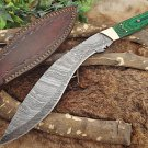 "15"" Damascus steel hunting Kukri knife, Green 2 tone wood, Cow Leather sheath"