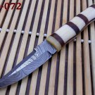 Damascus steel skinner knife Camel bone bars on Olive wood Scale Hand Forged