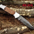 "Damascus steel 7.5"" long Folding Knife Natural wood with steel bolster scale"