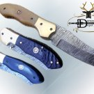 "8"" Tanto blade Damascus steel folding knife, Thumb pin, liner lock, Cow sheath"