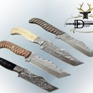 "10"" DAMASCUS SKINNING FULL TANG TANTO KNIFE, JIGGED SCALE 4 COLORS W/SHEATH"