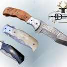 "8"" Tracker Folding Damascus knife, Engraved bird bolster, Liner lock, Cow sheath"