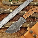 """10"""" Tracker Knife Hand Forged Twist Pattern Full Tang Damascus Steel, Rose Wood"""