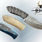 "6.5"" SKINNING DAMASCUS STEEL FULL TANG BLADE POCKET KNIFE, LEATHER SHEATH"