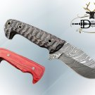 "8"" SKINNING DAMASCUS STEEL CAMPING KNIFE, RED & JIGGED WOOD SCALE LEATHER SHEATH"