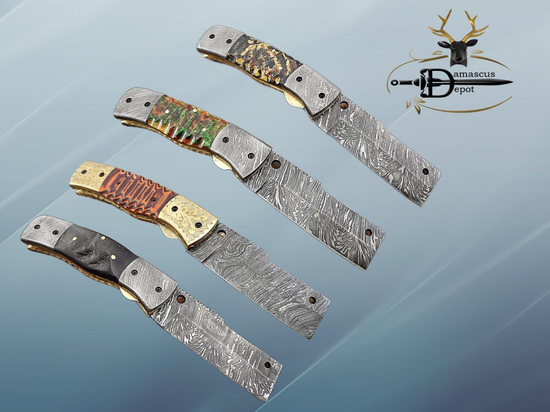 Tanto blade Damscus folding knife, Multi color Jigged engraved razen, Cow Sheath