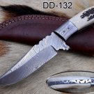 """8"""" long Stag scale Full tang blade Damascus Skinning knife , Cow Leather sheath"""