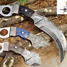 "DAMASCUS KARAMBIT KNIFE WITH FINGER HOLE, 11"" DAMASCUS BOLSTER, LEATHER SHEATH"