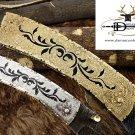 "7"" Damascus Blade Custom made Folding Knife w/Engraved Brass & Steel Handle,Lock"