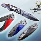 """8"""" Hand forged Damascus steel folding knife with Pocket clip & Damascus Bolster"""