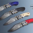 """8.3"""" Hand forged Damascus folding knife with pocket clip, liner lock, thumb knob"""