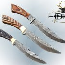 """11.5"""" Damascus steel full tang blade skinning knife, wood scales, Cow sheath"""
