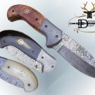 "Damascus steel 7.5"" folding knife, liner lock, thumb knob, Cow sheath"