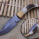 Stag antler & Engraved brass scale Damascus Folding knife Cow leather sheath