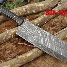Custom Made Damascus Steel Hunting Cleaver, butcher, chef Knife Jigged bull horn