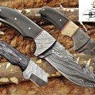 "7.5"" HAND FORGED DAMASCUS STEEL FULL TANG BLADE GUT HOOK SKINNING POCKET KNIFE"