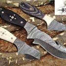 "Gut hook skinning knife, 9"" Long full tang Damascus steel , Cow Leather sheath"